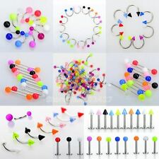 45Pcs/Set Mix Acrylic Stainless Steel Eyebrow Navel Belly Lip Tongue Ring Nose B