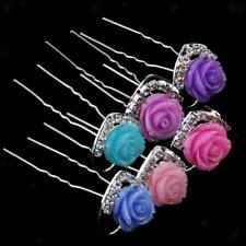 20Pcs Crystal Diamante Flower Hair Pins Clip Accessories Wedding Bridal Prom