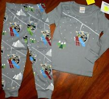 Pajama Set Gymboree size 6-12 12-18 months Gray Skiing 2pc Boy New