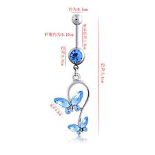 Jewelry Surgical Steel Double Butterfly Rhinestones Crystal 1Pcs Navel Ring