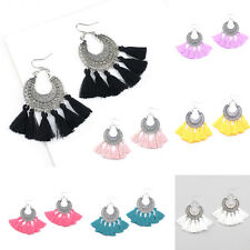1Pair Bohemian Vintage Long Tassel Fringe Boho Dangle Earrings Women Jewelry