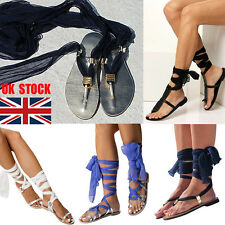 UK Women Rome Ankle Wrap Lace Up Flats Beach Gladiator Sandals Shoes Size 2.5-7