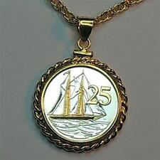 "Cayman Islands 25 Cent Silver & Gold Plated ""Boat""  18"" or 24"" Coin Necklace"