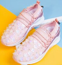 Floral Sequin Skate Slip-Ons Black or Pink Lace & Fabric Sneakers Shoes