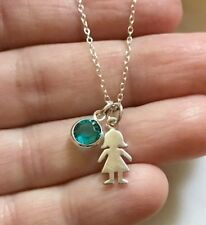 925 Sterling Silver GIRL Cut Out Little Girl Charm Birthstone Chain Necklace
