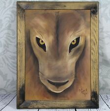 Lion Acrylic Painting on Stretched Canvas Framed Wildlife Lion Eyes Follow You