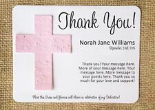 Cross Baptism Dedication Plantable Seed Paper Favors - Set of 12, 39 Colors