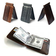 Men's Cowhide Leather Bifold Slim Wallet ID Credit Card Money Clip Holder Purse