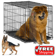 Dog Pet Cat Crate Cage Kennel Folding Metal Door Tray Travel Portable 30-48""