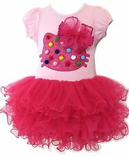 Girls Hello Kitty Polka Dots Bow Pink Ballet Tutu Dress ~ Ages 3 to 7