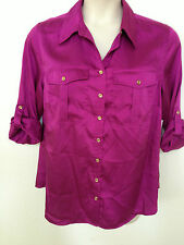 NWT Charter Club Plus Dark Pink 14W/16W Button Down Silky Roll Up Sleeve Blouse