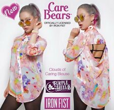 Iron Fist Care Bears Pink Rainbow Clouds of Caring Blouse ❤ XL Last One!