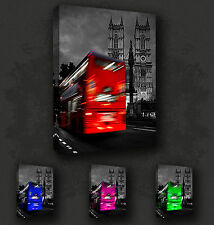 LONDON BUS BIG BEN STREETS RETRO WALL ART MANY COLOURS CANVAS PRINT PICTURE