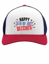 Happy 4th of July Bitches USA American Patriot Trucker Hat Mesh Cap