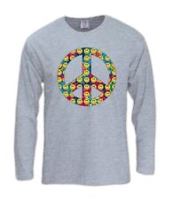 Peace Sign-Smiley Faces Long Sleeve T-Shirt 60s hippies youth movement  sixties