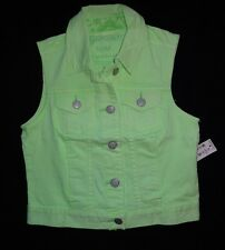 NWT Aeropostale womens NEON POP denim button-up jean VEST JACKET juniors MEDIUM
