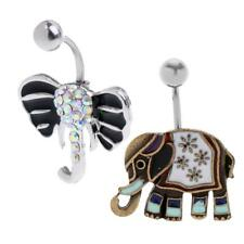 304 Stainless Steel Elephant Belly Button Ring Bar Navel Crystal Body Piercing
