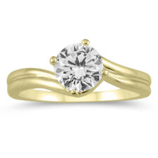 AGS Certified 1 Carat Diamond Solitaire Ring in 14K Yellow Gold
