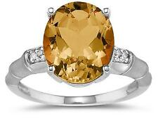 3.97 Carat  Citrine  and Diamond Ring in 14K White Gold