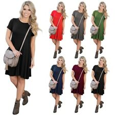 Women's Short Sleeve Casual Loose Dress Evening Cocktail Short Mini Dress S-XL