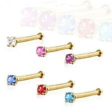 14kt Solid Gold 2mm CZ Gemstone Nose Ring, Yellow 20g Nose Stud 6 Colors