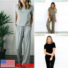 US Women's Back Cut Out Waist Tie Sports Long Wide Leg Pants Jumpsuit Playsuit