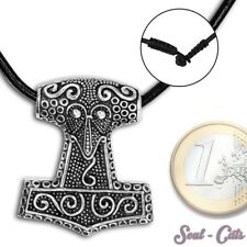 Solid real 925 Silver Thor's hammer Pendant Mjölnir Leather band Thor celtic