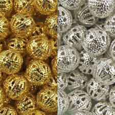DIY Metal Jewelry Accessories Hollow Beads Plated 100 Pcs Manual  Silver Gold