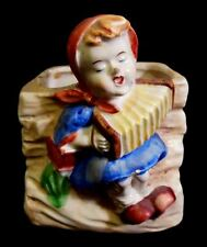 """Occupied Japan """"Girl Playing Accordion"""" Porcelain Planter Beautiful Condition!"""