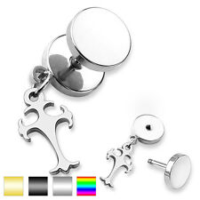 Unisex Earring Fake Plug made of surgical steel Stainless 316L Celtic. Cross