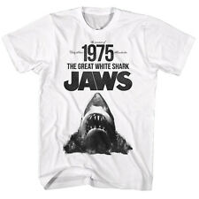 Jaws Licensed T-Shirt Movie Mens New SUMMER OF 1975 in Sizes SM - 2XL White