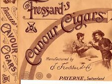 2   Cigarboxlabels  Frossards Cavour Cigars / Payerne Swiss 1910