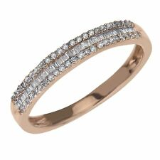 Diamond Stackable Ring 1/4 ct tw Round/Baguette 10K Rose Gold