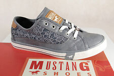 Mustang Canvas Lace up Sneakers Low Shoes light blue, Rubber sole 1146 NEW