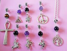 "gemstone pendant charm necklace 20"" silver plated chain dragon unicorn angel ohm"