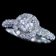 925 Sterling Silver Simulated Round Cut Diamond Bridal Engagement Band Ring Set