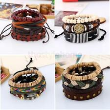 MagiDeal Retro Unisex Woven Braided Beads PU Leather Bracelet Bangle Adjustable
