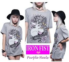 Iron Fist BFF Boyfriend Grey Bunny Snake Tee  Size Small
