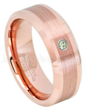 Rose Gold Tungsten Ring, 0.07ct Peridot Solitaire Ring,August Birthstone #732