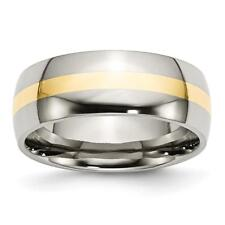 Chisel Stainless Steel and 14k Yellow Inlay 8mm Polished Band Ring SR2