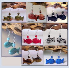 Fish Lovers Gemstone Fetish Animal Earrings * Your Choice of Stone / Color