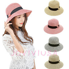Women's Foldable Floppy Straw Derby Hat Large Wide Brim Sun UV Summer Beach Cap