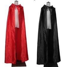 Adults Hooded Cloak Gothic Devil Cape Costume Medieval Witch Wizard Fancy Dress