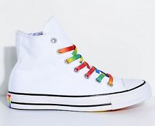 New Mens Women Converse CTAS Hi Pride Chuck Taylor White & Rainbow LGBT Shoes z1