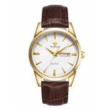 Mens Watches Date Calender Dial Gold Case Leather Strap Quartz Watch for Men