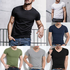 Men Boys Slim Short Sleeve Basic Tee V-Neck/ Crew Neck T-Shirt Soild Muscle Tops