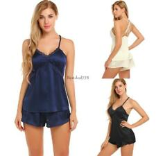 Womens Sleeveless Sleepwear Lace Patchwork Spaghetti Straps Pajamas Set BTL8