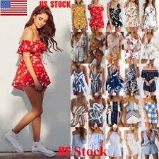 US Women Off Shoulder Floral Playsuit Backless Rompers Jumpsuit Sleeveless Tops