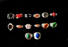 Silver Plated Ring Simulated Gemstone Women Girls 925 Red Cocktail Size 8