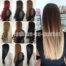 3/4 Ombre Full Wig Natural Ladies Long Curl Straight Wavy Half Wigs Thick Hair